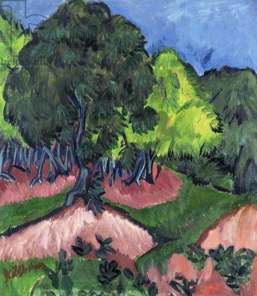 Landscape with Chestnut Tree; Landschaft mit Kastanienbaum, 1913 (oil on canvas)