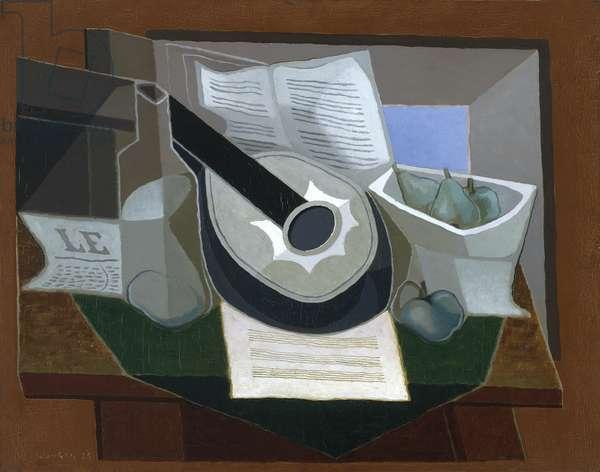 Mandolin and Fruit Dish, 1925 (oil on canvas)