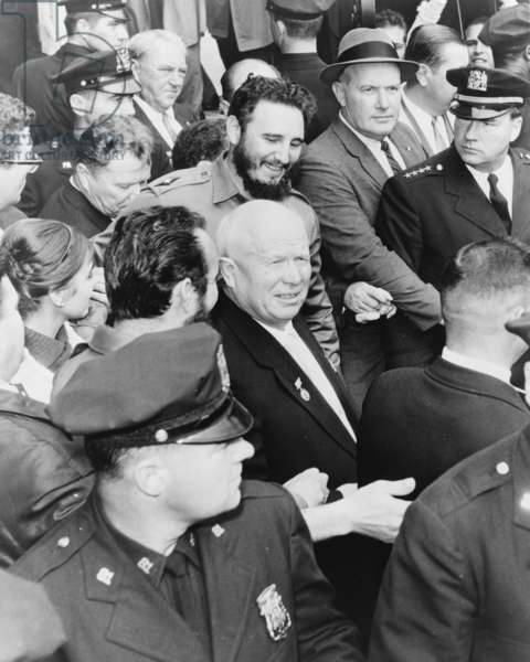 Fidel Castro and Nikita Khrushchev in New York for the General Assembly of the United Nations, 1960 (b/w photo)