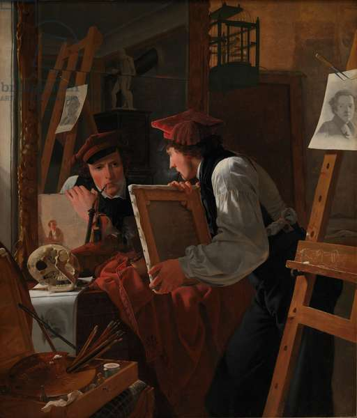 A Young Artist (Ditlev Blunck) Examining a Sketch in a Mirror, 1826 (oil on canvas)