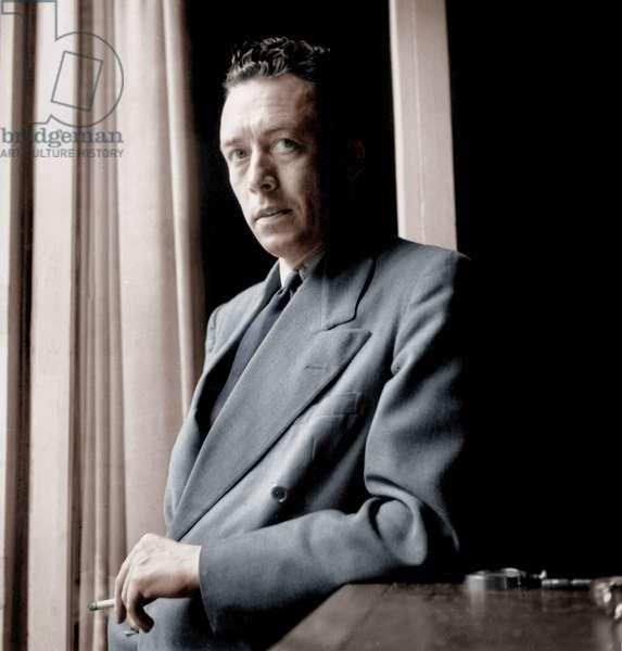 French Writer Albert Camus (1913-1960) at Home June 13, 1947 (photo)