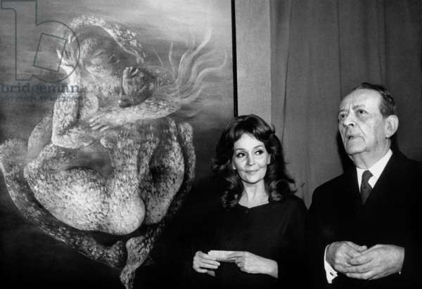 Andre Malraux and Ludmilla Tcherina at her Painting Exhibition in Paris February 28, 1973 (b/w photo)