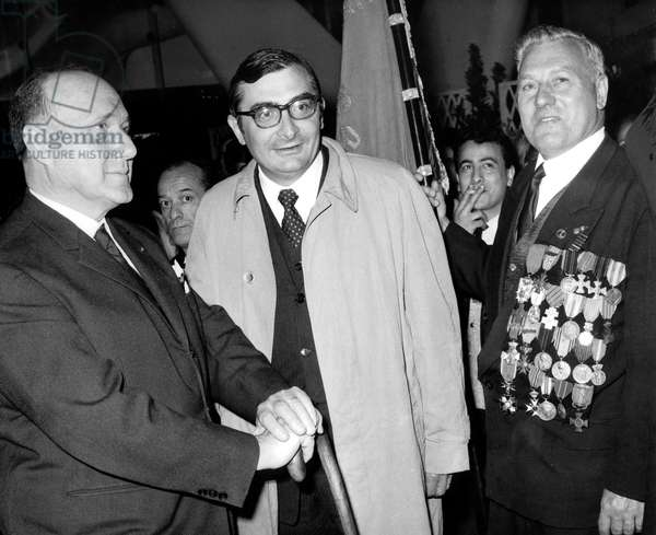 French Film Maker Claude Chabrol Presenting his Film Line of Demarcation in Parisian Cabaret With Colonel Remy and One of The Smuggler Hero of Free France May 25, 1966 Cinema Et Resistance Ww2 Movie Film Engage Committed (b/w photo)