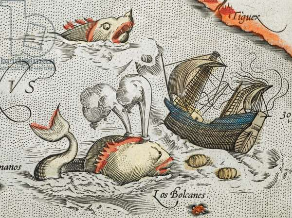 (Detail). Sea monsters attacking a ship.