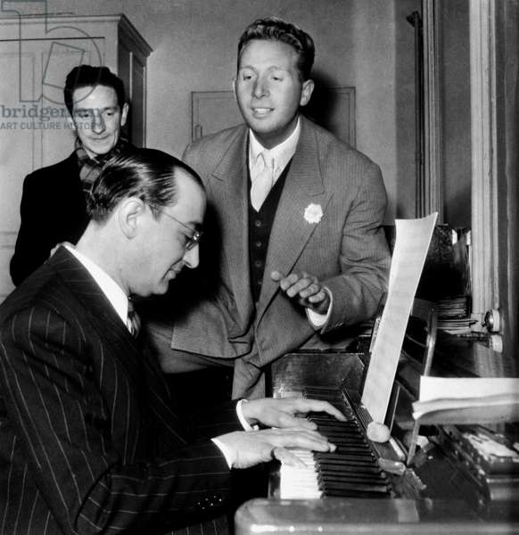 French Singer Charles Trenet during Rehearsals With his Pianist Leo Chauliac January 1947 (b/w photo)