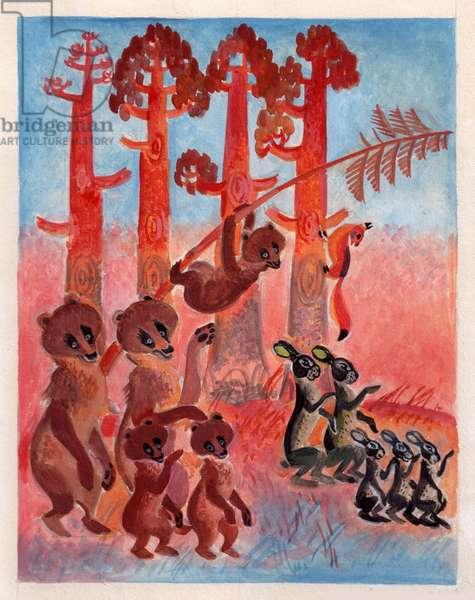 Illustration from 'Masha's Fairytales' by Sofya Prokofieva, 1966 (gouache on paper)