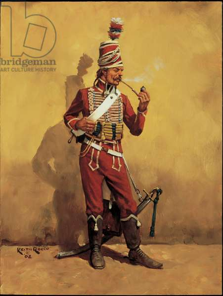 Hussar Guide of the Army of Italy, 1796, 2002 (oil on board)