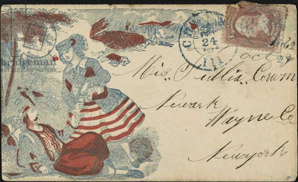 CIVIL WAR ENVELOPE, 1862 Civil War-era envelope showing a woman pouring a drink for an injured man on the battlefield, 1862.