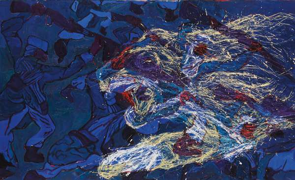 French Foreign Legionnaires Being Eaten by a Lion in the Sahara Desert, 1986 (oil and encaustic on canvas)
