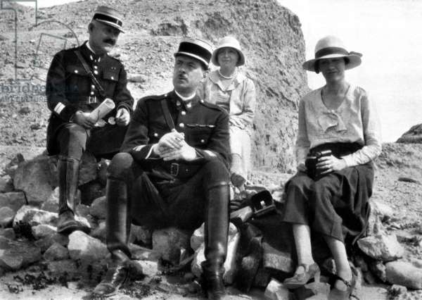 General de Gaulle in Lebanon with his with Yvonne, 1930 (b/w photo)