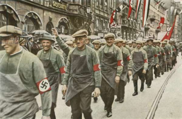 Nazi supporting German workers marching with Adolf Hitler (colour photo)