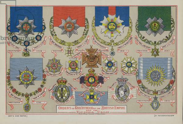 Orders of Knighthood of the British Empire and the Victoria Cross (chromolitho)