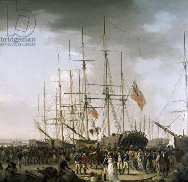 Cavalry embarking at Blackwall, near Greenwich, April 24, 1793. Oil on canvas by William Anderson (1757-1837). England, 18th century