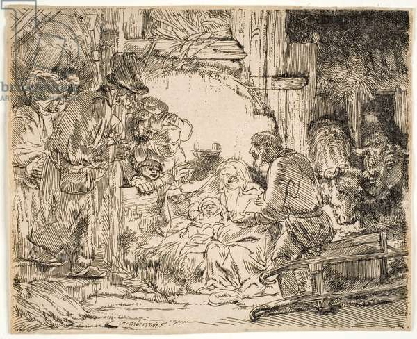 The Adoration of the Shepherds with the Lamp, 1654 (etching)