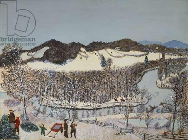 Hoosick River, Winter, 1952 (oil on pressed wood)