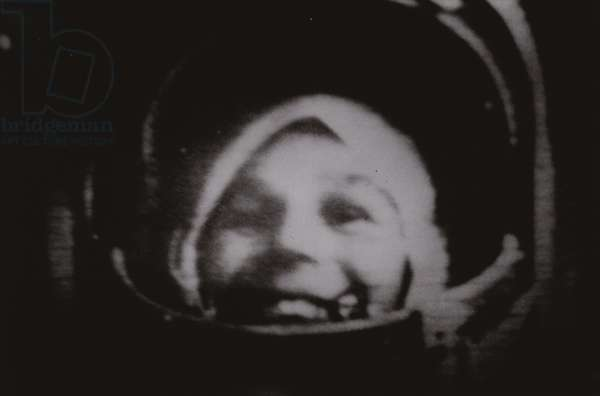 Soviet cosmonaut Valentina Tereshkova, the first woman to fly in space, on board a Vostok spacecraft, 1963 (b/w photo)
