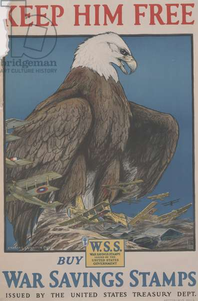 Keep Him Free, Buy War Savings Stamps Issued by the United States Treasury Dept., 1917 (colour offset litho)