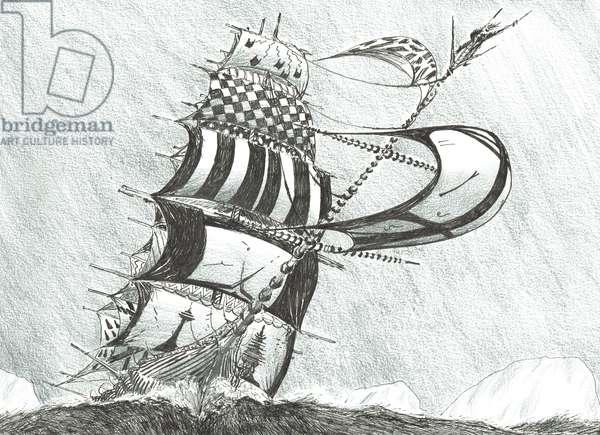 Storm Creators Prince Gustav Adolf Sea, 2017, (ink and pencil on Paper)