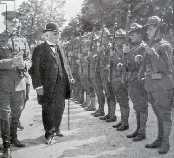 Georges Clemenceau reviews American soldiers.
