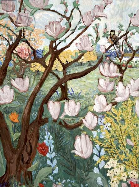 Magnolia Tree, 2019, (acrylic on canvas)