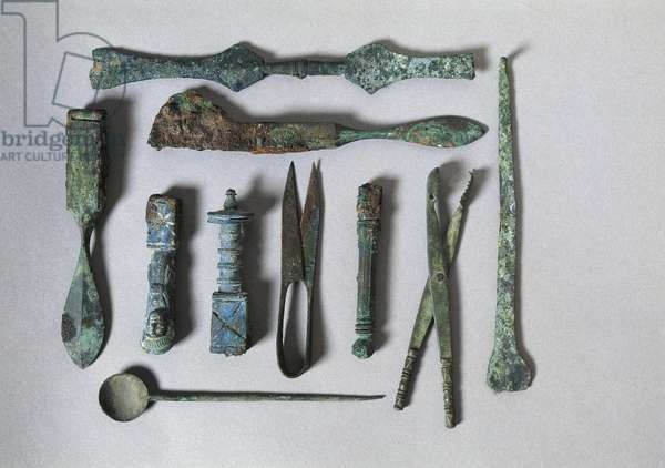Italy, Campania, Pompeii, Surgical instruments from the House of the Surgeon