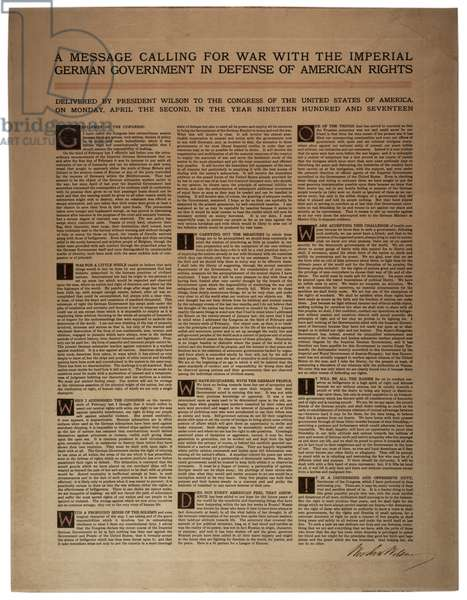 A message calling for war with the imperial German government in defence of American rights, 2 April 1917 (litho)