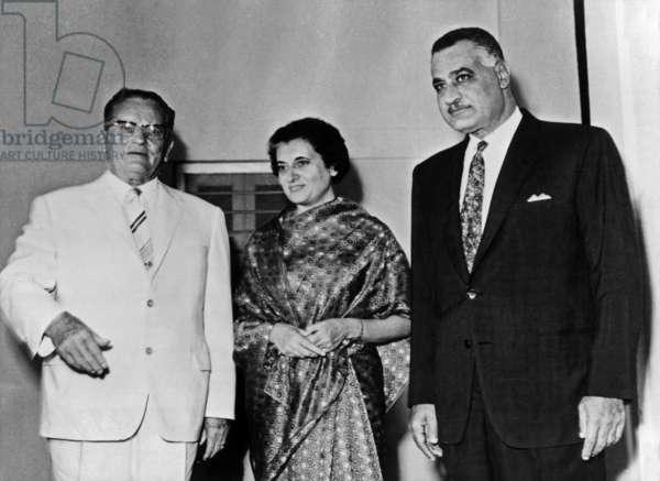 Josip Broz Tito, Indira Gandhi and Gamal Abdel Nasser during a press conference between Yugoslavia, India and Egypt, September 29, 1970