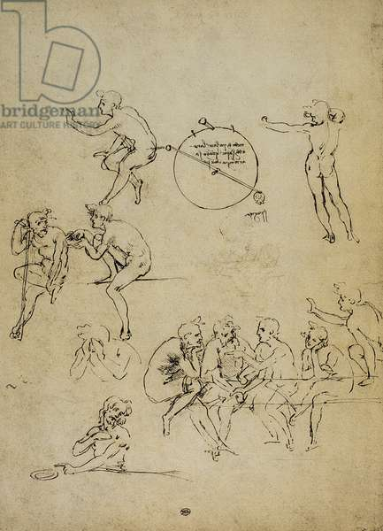 Study of human figures in different positions; drawing by Leonardo da Vinci. The Louvre, Paris