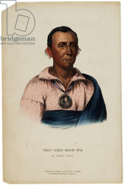Wat-Che-Mon-Ne, Ioway Chief, print made by J. T. Bowen, illustration from 'The History of the Indian Tribes of North America' by Thomas L. McKenney and James Hall, c.1842-70 (litho)