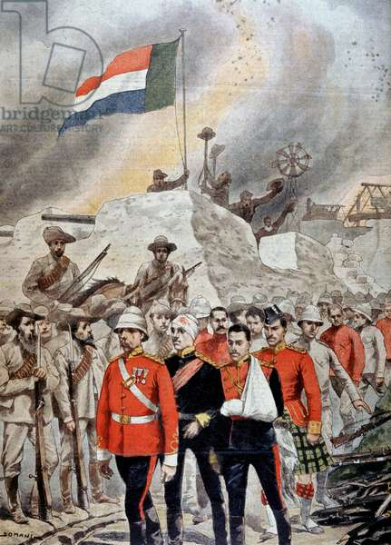 Boer War: surrender of British garrison at Jamestown to the Boers. British marching into imprisonment. From Le Petit Journal Paris 23 June 1901.