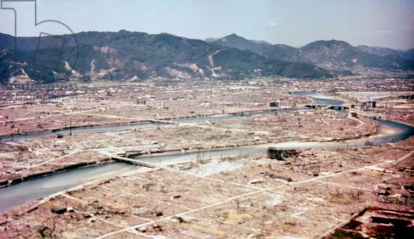Hiroshima after the dropping of the atom bomb in August 1945. USAF photograph.