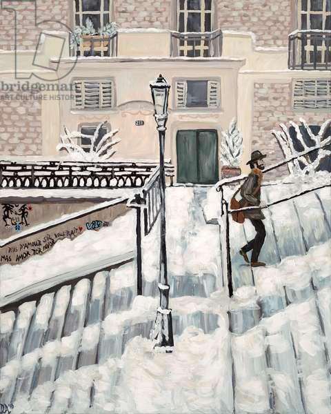 Montmartre Snow, 2018, (acrylic on canvas)