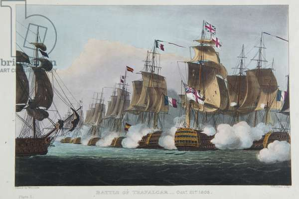 Battle of Trafalgar, October 21st 1805, from 'The Naval Achievements of Great Britain' by James Jenkins, engraved by Thomas Sutherland (b.c.1785) published 1816 (colour engraving)
