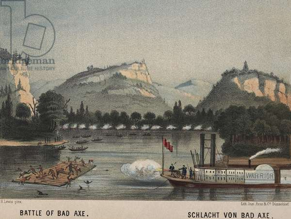 Battle of Bad Axe, Aug. 1-2, 1832, was the final battle of the Black Hawk War. 500 Sauk (Sac) and Fox warriors, women and children were defeated and retreating to the west side of the Mississippi. The United States Army regulars and militia followed them to engage in a one-sided fight from a steamboat with artillery. 70 settlers and US soldiers died in the four month war, while half of Black Hawk's original band of 11,000 died of wounds or hardship (lithograph)