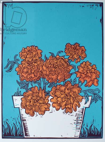 Pot of Marigolds, 2014, (linocut)