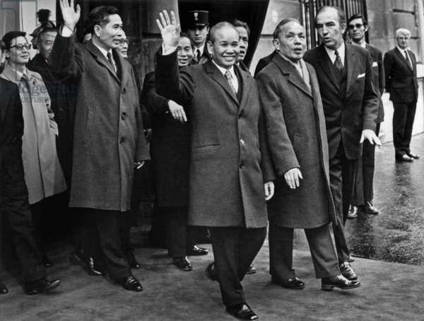 Mr Nguyen Duy Trinh Minister for Foreign Affairs North Vietnam After Signature Ceremony Leaving Kleber Avenue Conference Centre With Mr Xuan Thuy (Left) January 27, 1973 (b/w photo)