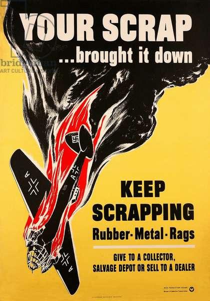 Your Scrap Brought It Down, 1942 (colour litho)
