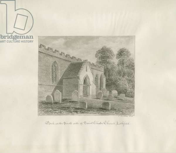 Lichfield - South Porch of St. Chad's Church: sepia drawing, 1845 (drawing)