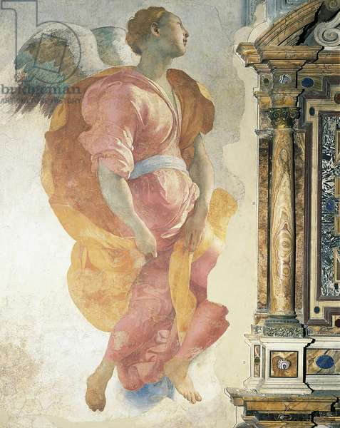 Archangel Gabriel by Giacomo Carucci known as Pontormo (1494-1556), fresco, Capponi Chapel, Church of Santa Felicita, Florence