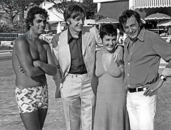 Enrico Macias, Louis Velle, Frederique Hebrard and Louis Nucera in Cannes, French Riviera, August 7, 1972 (b/w photo)