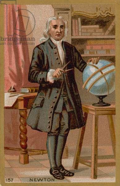 Isaac Newton, 17th-18th Century English physicist (chromolitho)
