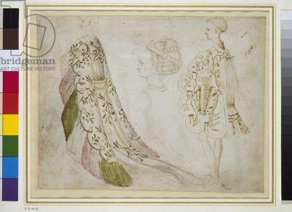Recto: Studies of Costume (pen & ink with w/c on vellum)