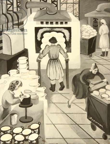 At the Bakery, 1970s (tempera on paper)