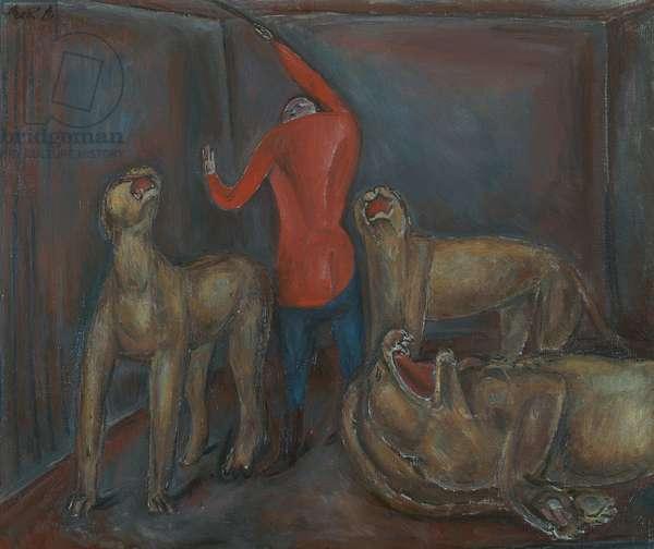 Tamer with lion, 1918, by Rene Auberjonois (1872-1957), oil on canvas, 54x65 cm. Switzerland, 20th century.