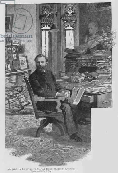 W T Stead, English newspaper editor and pioneer of investigative journalism, in his office in Norfolk House, Thames Embankment, London (litho)