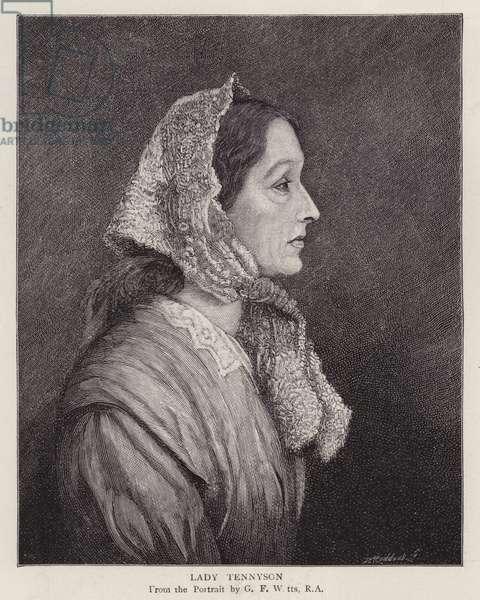 Portrait of Emily Tennyson, Lady Tennyson, wife of English Poet Laureate Alfred, Lord Tennyson (litho)