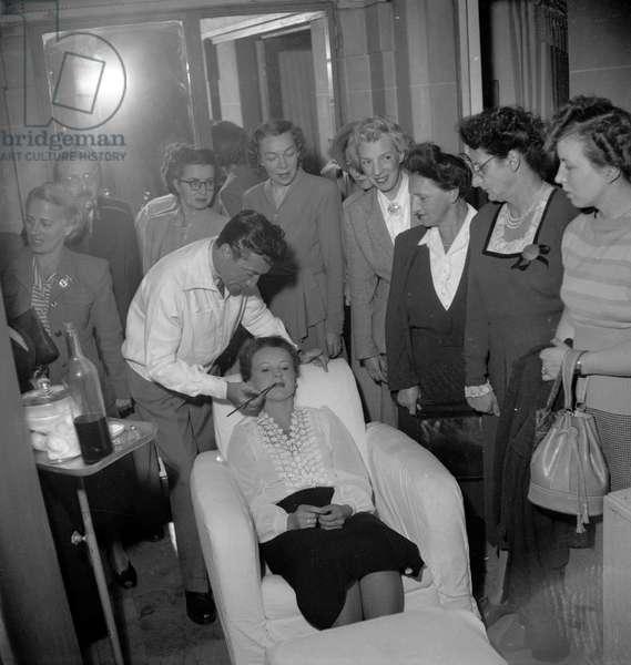 French make-up man Jean d'Estrees in Paris, September 1949 (b/w photo)