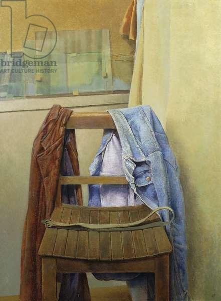Denim and Leather, interior with Clothes on a Chair, (oil on board)