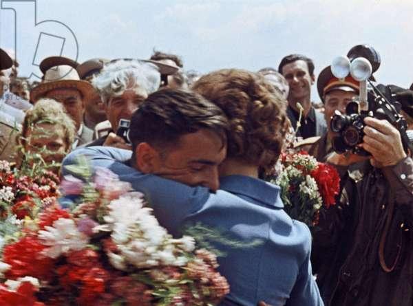 Soviet Cosmonauts Valentina Tereshkova and Valery Bykovsky Hug after Bykovsky'S Flight in Vostok 5, 1963.