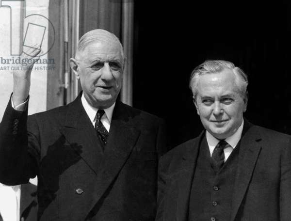 English Prime Minister Harold Wilson during Visit To French President Charles De Gaulle in Elysee Palace Paris April 2, 1965 (b/w photo)